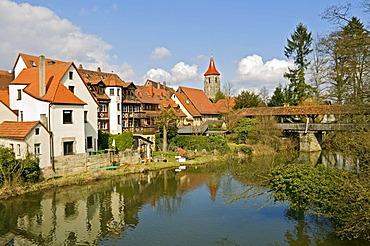 River Pegnitz, Lauf an der Pegnitz, Middle Franconia, Bavaria, Germany, Europe