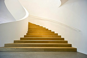 Spiral staircase at the Vitra Design Museum by the architects Herzog & de Meuron in Weil am Rhein, Baden-Wuerttemberg, Germany, Europe