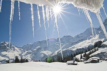 Snowy mountain landscape, Muerren, Bernese Oberland, Switzerland, Europe