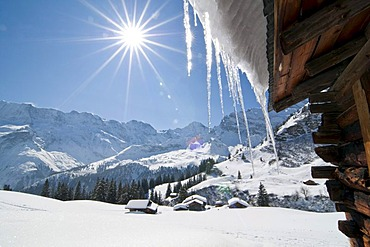 Winter landscape in Muerren, Bernese Oberland, Switzerland, Europe