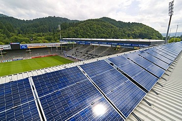 Solar power plant on the roof of the Badenova stadium in Freiburg im Breisgau, Baden-Wuerttemberg, Germany, Europe