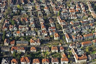 Aerial view of old buildings in Freiburg im Breisgau, Baden-Wuerttemberg, Germany, Europe