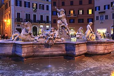 Neptune Fountain, Piazza Navona, Rome, Italy, Europe