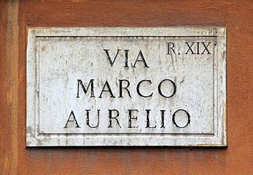 Street sign, Via Marco Aurelio, Rome, Italy, Europe