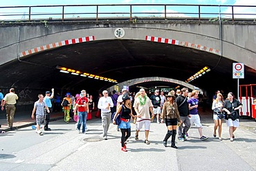 Loveparade 2010, visitors arrive at the event after crossing a tunnel, former freight depot site, Duisburg, Ruhr Area, North Rhine-Westfalia, Germany, Europe