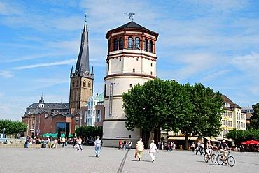 Rhine promenade with Schlossturm tower and Lambertus-Kirche church, old town, Duesseldorf, North Rhine-Westphalia, Germany, Europe