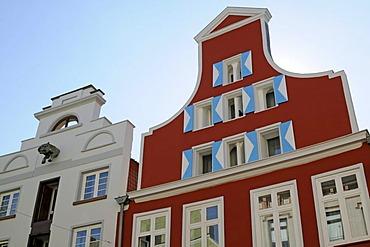 Gable houses in Wismar, Mecklenburg-Western Pomerania, Germany, Europe