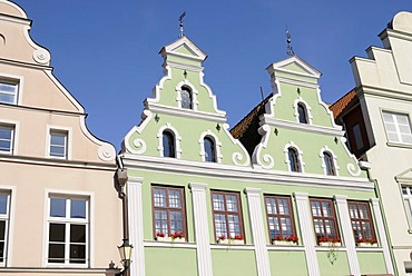 Double gable house in Wismar, Mecklenburg-Western Pomerania, Germany, Europe