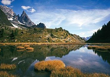 Lake Lago di Combal, Val Veni, Gran Paradiso National Park, Aosta Valley, Piedmont, Italy, Europe