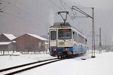 Zugspitzbahn Cable Car in a snowstorm, Garmisch-Partenkirchen, Oberbayern region, Upper Bavaria, Bavaria, Germany, Europe