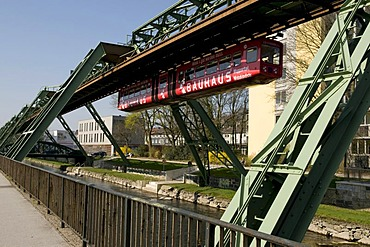Schwebebahn, suspended monorail over the Wupper River, Wuppertal, Bergisches Land, North Rhine-Westphalia, Germany, Europe