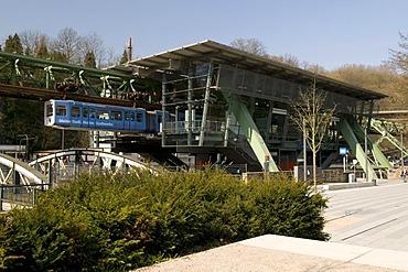 Schwebebahn, suspended monorail station, Zoo Stadion, Wuppertal, Bergisches Land, North Rhine-Westphalia, Germany, Europe