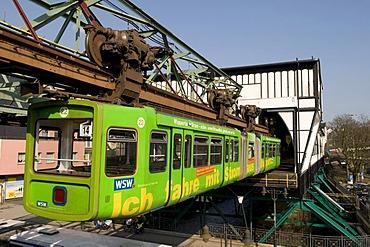 Schwebebahn, suspended monorail, Wuppertal, Bergisches Land area, North Rhine-Westphalia, Germany, Europe