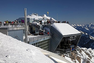 Viewing platform, glacier lifts, winter, Zugspitze Mountain, 2962m, Bavaria, Germany, Europe