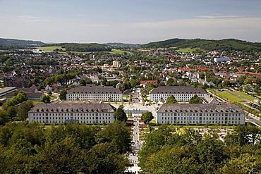Former barracks, view from Juebergturm tower, State Garden Exhibition, Hemer, Sauerland, North Rhine-Westphalia, Germany, Europe