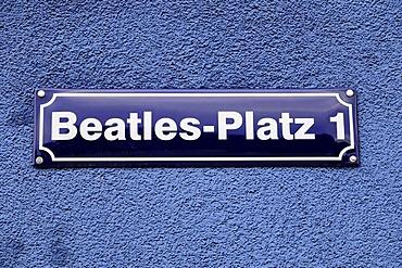 "Street sign ""Beatles-Platz 1"" square, Reeperbahn street, Hanseatic City of Hamburg, Germany, Europe"