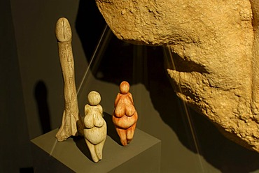 Stone age artefacts, Cheddar Man Museum of Prehistory, Cheddar, Somerset, England, United Kingdom, Europe