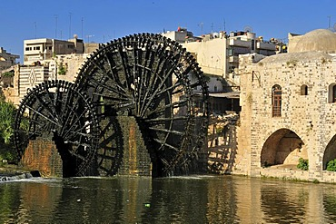 Noria waterwheel on the Orontes River and Nuri, Nouri Mosque in Hama, Syria, Middle East, West Asia