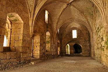 Gothic loggia in the Crusader fortress Crac, Krak des Chevaliers, UNESCO World Heritage Site, Qalaat al Husn, Hisn, Syria, Middle East, West Asia