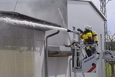 Large fire at the Puren Company, a plastic processing factory, large-scale operation of rescue services, Obermarchtal, Baden-Wuerttemberg, Germany, Europe