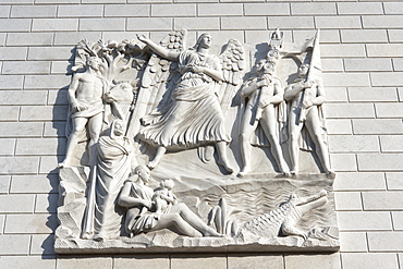 """Bas-relief """"L'Impero fascista"""", the fascist empire, by Quirino Ruggeri, 1941, on the northern blind head of the Palazzo dell'INA, with a Rome, Italy, Europe"""