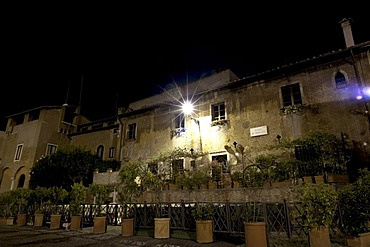 Medieval building in Piazza dei Mercanti, in Trastevere, Rome, Italy, Europe