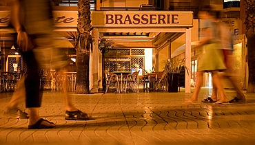 Harbour promenade in Argeles sur Mer at night, Languedoc-Roussillon, southern France, France, Europe