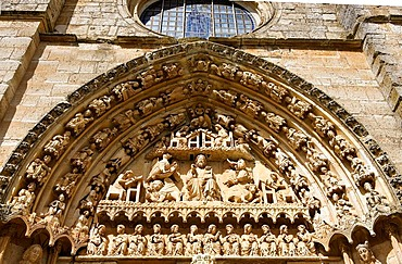 South portal, Romanesque church of Santa Maria la Real, village of Sasamon, province of Burgos, Camino de Santiago, Way of St. James, Castilla, Spain, Europe