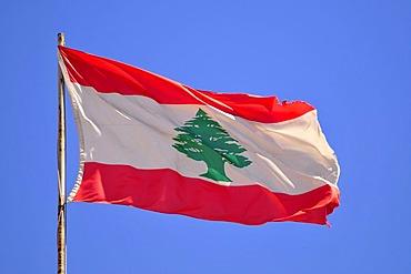 Lebanese national flag with the Cedar of Lebanon, Beirut, Lebanon, Middle East, Asia