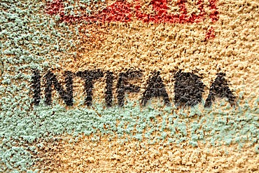 Intifada Graffiti on a wall in downtown Beirut, Lebanon, Middle East, Asia