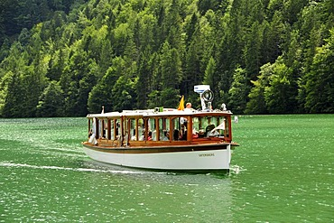 "Electric boat ""Untersberg"" of the Koenigssee-Schifffahrt line near Koenigssee village, Koenigssee lake, Nationalpark Berchtesgaden Alpine national park, Bavaria, Germany, Europe"