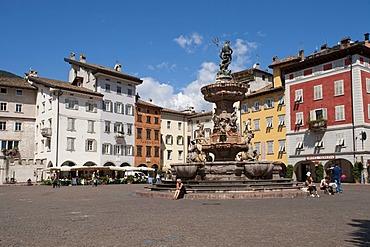 Fontana Nettuno or Neptune fountain, Piazza del Duomo square, Trent or Trento, Trentino, Italy, Europe, PublicGround