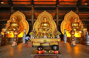 Buddha statues made of bronze in the second temple of the Chua Bai Dinh pagoda, currently a construction site, to become one of the largest pagodas in Southeast Asia, near Ninh Binh, Vietnam, Southeast Asia