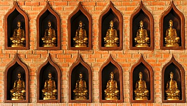 Small Buddha statues on the construction site of the Chua Bai Dinh pagoda, one of the largest pagodas in Southeast Asia, near Ninh Binh, Vietnam, Southeast Asia