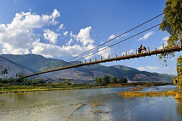 Suspension bridge in the Mai Chau Valley, Vietnam, Asia