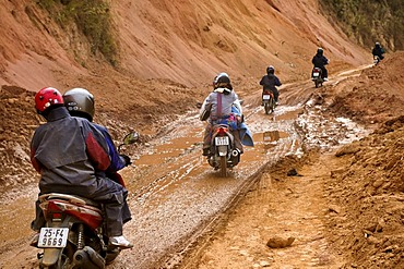Mopeds in Mai Chau Valley, Vietnam, Asia
