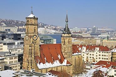 View over Stuttgart, inner city, Collegiate Church, Old Chancellery, Baden-Wuerttemberg, Germany, Europe