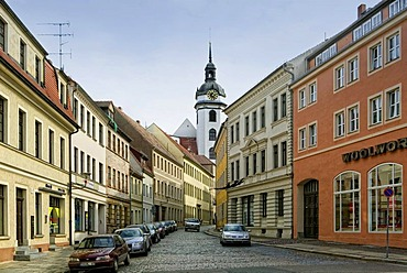 The Schlossstrasse street with the Marienkirche church in Torgau, Saxony, Germany, Europe
