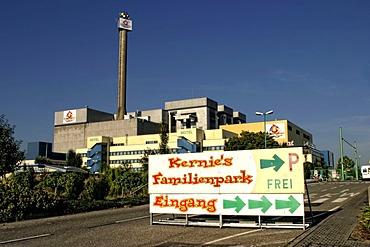 "Former fast breeder reactor, test reactor, now the ""Kernie's Familienpark"" amusement park, Kalkar, Niederrhein, North Rhine-Westphalia Germany, Europe"