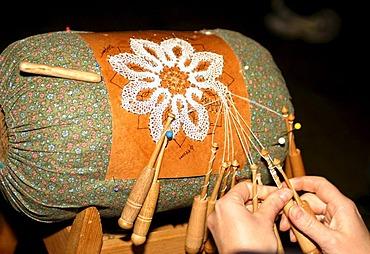 Lace-making cushion, bobbin lacemaking in the Erzgebirge area, Saxony, Germany, Europe