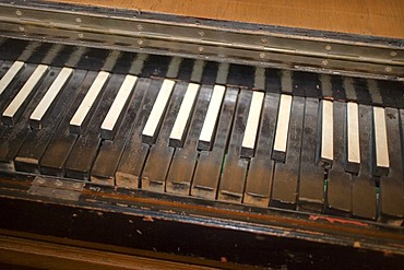 Piano keyboard, Haus Kemnade castle and museum, Hattingen, North Rhine-Westphalia, Germany, Europe