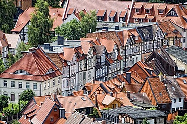 View from the Schloss Wernigerode castle on the town of Wernigerode, Harz, Saxony-Anhalt, Germany, Europe