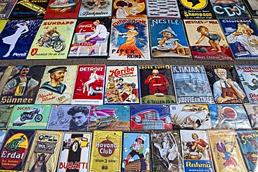 Historic tin advertising signs at a flea market, Cologne, North Rhine-Westphalia, Germany, Europe