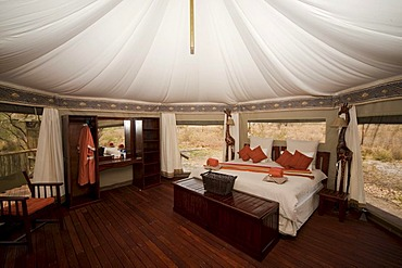 Interior view of a luxurious safari tent, Three Baobab Lodge, Savuti, Botswana, Africa