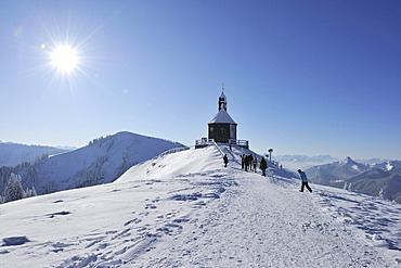 Wallbergkircherl chapel, Mt. Wallenberg, Bavarian Alps, Upper Bavaria, Bavaria, Germany, Europe