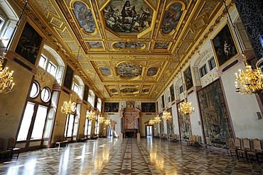 Kaisersaal Imperial Hall, Muenchner Residenz royal palace, home of the Wittelsbach regents until 1918, Munich, Bavaria, Germany, Europe