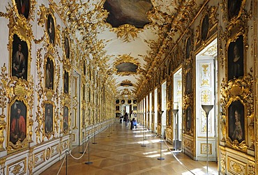 Ancestral gallery, Muenchner Residenz royal palace, home of the Wittelsbach regents until 1918, Munich, Bavaria, Germany, Europe
