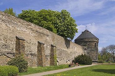 City wall with Pulverturm gun powder tower, Andernach, Rhineland-Palatinate, Germany, Europe