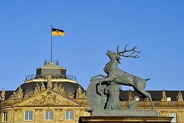 Heraldic animal deer by Anton von ISOPIS at the main entrance and courtyard, Schlossplatz square, Neues Schloss castle, Stuttgart, Baden-Wuerttemberg, Germany, Europe