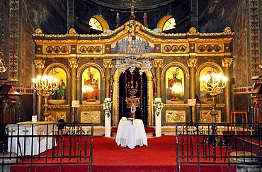 Interior, altar decorated for a baptism and marriage, church Hagia Sofia, Thessaloniki, Chalkidiki, Macedonia, Greece, Europe